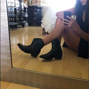 Miz Mooz Black Leather Studded Cowboy Boots